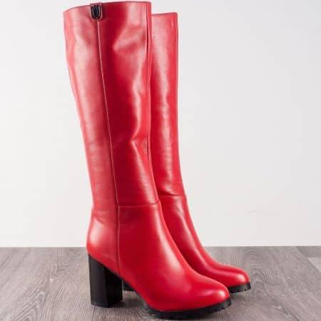Червени дамски ботуши на висок ток от естествена кожа 20145926chv
