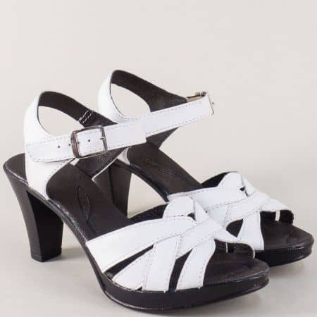 Бели дамски сандали на висок ток от естествена кожа 2026843b