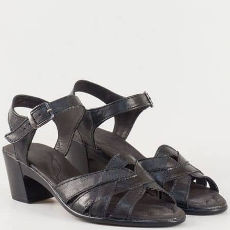 Дамски семпли сандали изработени от 100% висококачествена естествена кожа на български производител в черен цвят 2027124ch