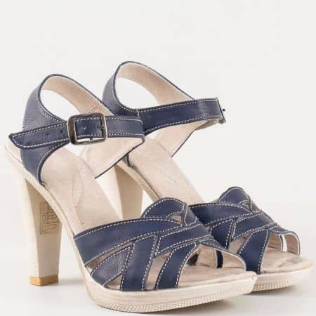 Дамски удобни сандали за всеки ден изработени от висококачествена естествена кожа на известен български производител в синьо 2027976s