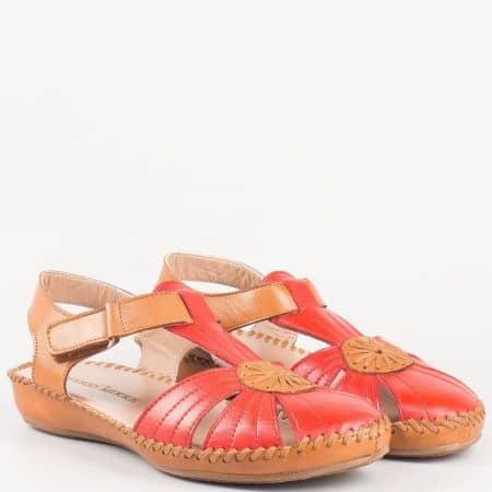 Дамски сандали в червено и кафяво от естествена кожа изцяло на равно шито ходило 2051chv