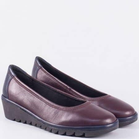 Италиански дамски обувки на платформа от естествена кожа- The FLEXX в цвят бордо 20634bd