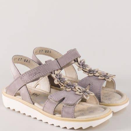 Бежови детски сандали с две лепки от естествен набук 21047-35bj