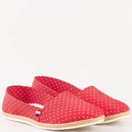 Дамски текстилни обувки на точки, тип еспадрила в червено и бяло 210516chv