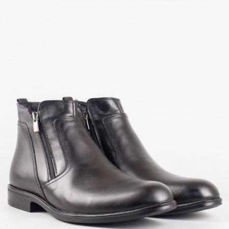 Мъжки елегантни боти изработени от висококачествена естествена кожа в черен цвят 2114ch