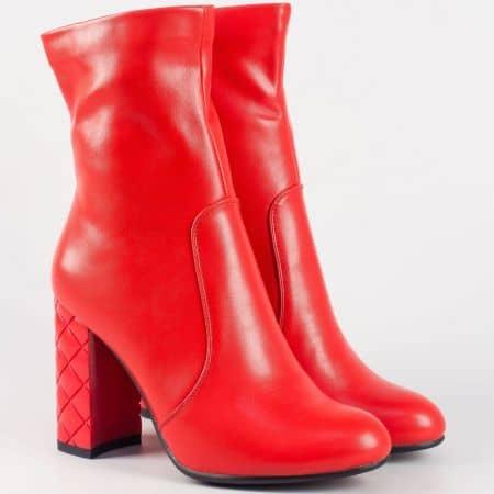 Модерни дамски боти в червено на висок ток 21256chv