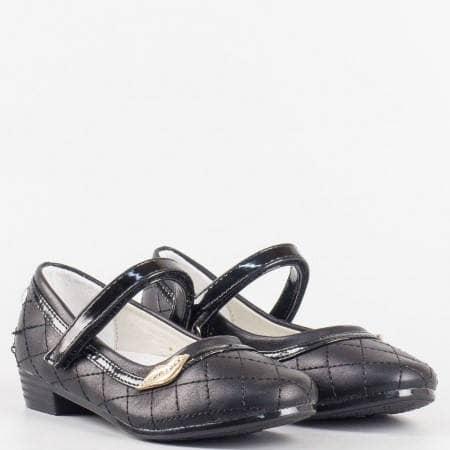Детски комфортни обувки с анатомична стелка на български производител в черен цвят 2127ch