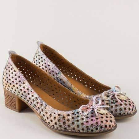 Пъстри дамски обувки с перфорация от естествена кожа на нисък ток 2132ps