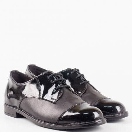Дамски ежедневни комфортни обувки с комбинация от естествена кожа и лак на удобно ходило с анатомична кожена стелка  2163133chlch