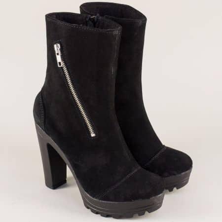 Велурени дамски боти в черно на висок ток 21815493vch