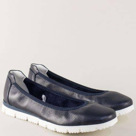 Тъмно сини дамски обувки от естествена кожа на равно ходило 222120s