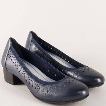 Кожени дамски обувки в син цвят с Memory пяна 222309s