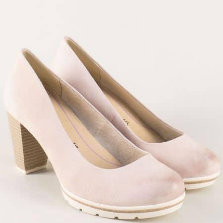 Кожени дамски обувки на висок ток и платформа в розово 222419rz
