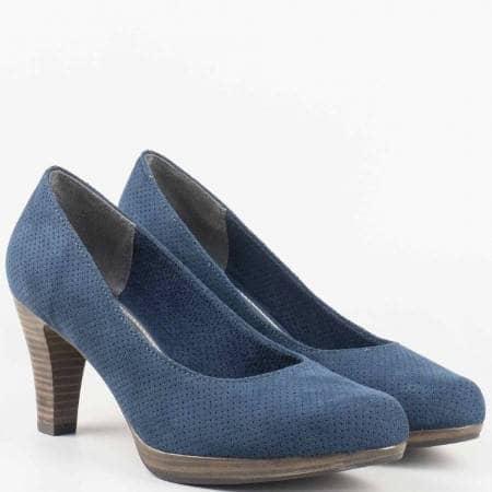 Дамски ежедневни обувки с перфорация на удобно ходило на немската марка Marco Tozzi в син цвят 222445ns