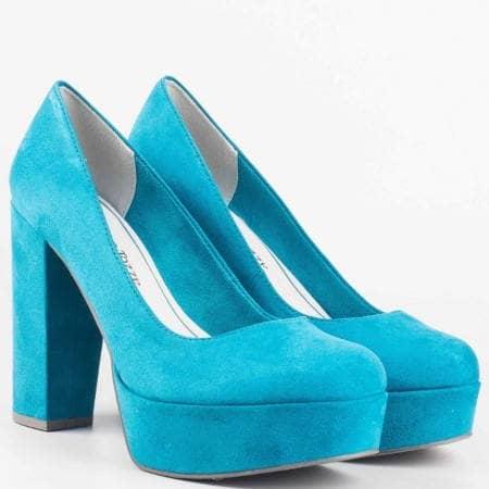 Дамски стилни обувки на висок ток с атрактивна визия на известния немски производител Marco Tozzi в син цвят 222446vs