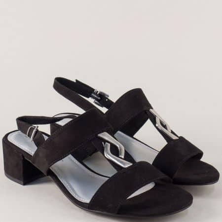 Дамски сандали в черен цвят на среден ток- Marco Tozzi 2228200vch