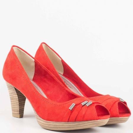 Червени немски дамски обувки с отворени пръсти на висок ток 2229302vchv