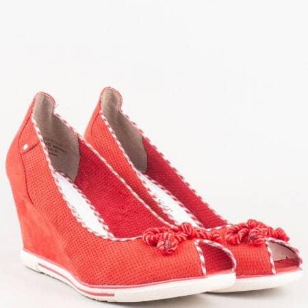 Дамски обувки с отворени пръсти- Marco Tozzi в червено 2229305chv