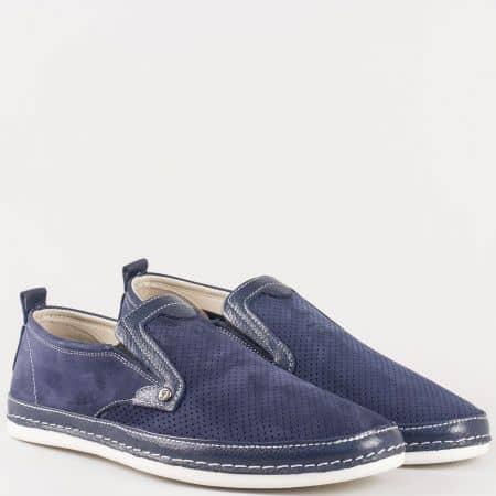 Мъжки обувки за всеки ден на удобно ходило с два ластика изработени от висококачествен набук и кожа в синьо 222ns