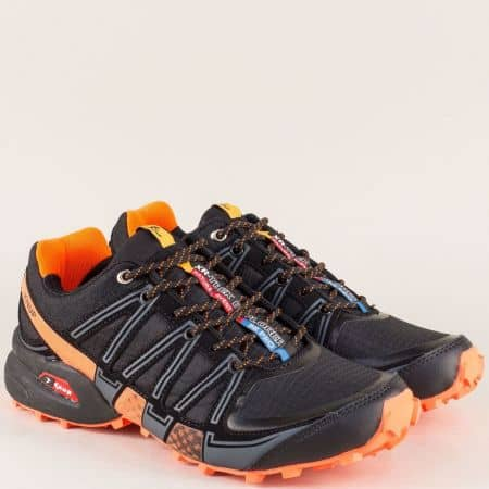 Мъжки маратонки в два цвята- черен и оранж и практични връзки 223017-45cho