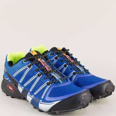 Сини мъжки маратонки Knup на равно ходило с връзки   223020-45ss