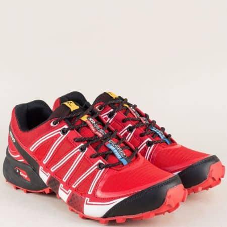 Мъжки маратонки в червен цвят- Knup на удобно ходило 223024-45chv