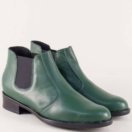 Зелени дамски боти от естествеа кожа на нисък ток 2232027z