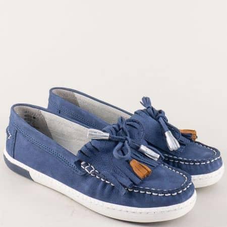 Дамски обувки, тип мокасини от естествена кожа в синьо 224610s