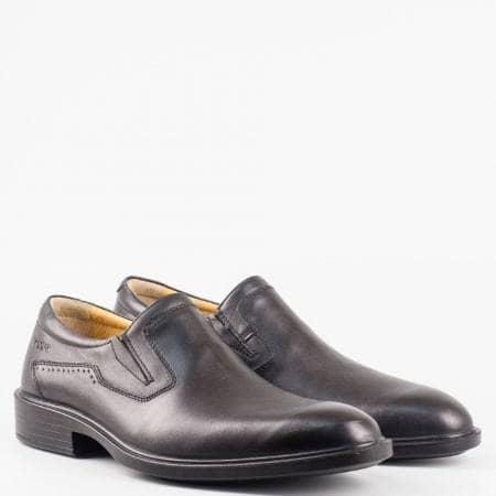 Мъжки елегантни обувки от 100% естествена кожа с ластици в черен цвят 22507ch