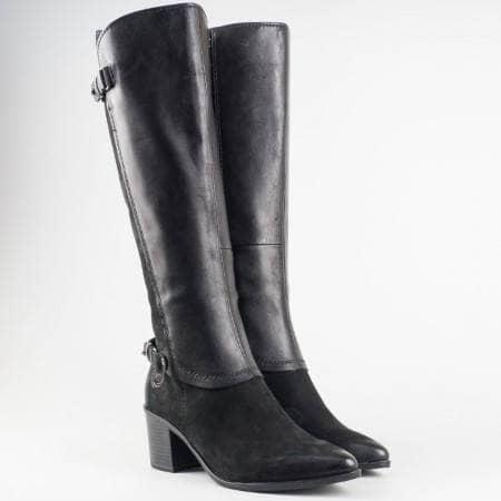 Немски дамски ботуши с актуална за сезона визия и комбинация от естествена кожа и набук на марката Marco Tozzi 225520ch