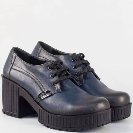 Дамски обувки от синя естествена кожа на висок ток и платформа 226443s