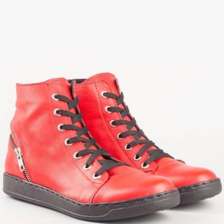 Дамски атрактивни кецове произведени от висококачествена естествена кожа на водещ български производител в червен цвят 2266891achv