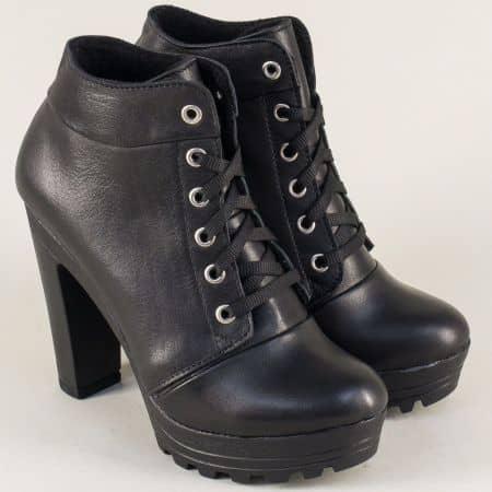 Кожени дамски боти от естествена кожа в черен цвят на висок ток 22715493ch