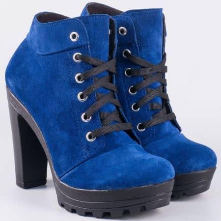 Български дамски боти на висок ток от естествен велур в син цвят 22715493vs