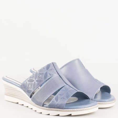 Немски комфортни чели- дамски на клин ходило с мемори стелка от естествена кожа в син цвят- Marco Tozzi 227203s
