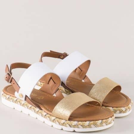 Дамски сандали в бяло, златно и кафяво- Marco Tozzi  228139b