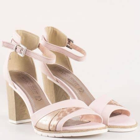 Стилни дамски сандали на висок ток- Marco Tozzi от розова естествена кожа 228329rz