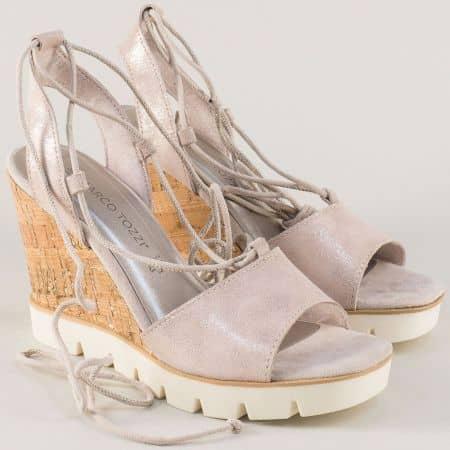 Бежови дамски сандали на платформа- Marco Tozzi 228353bj