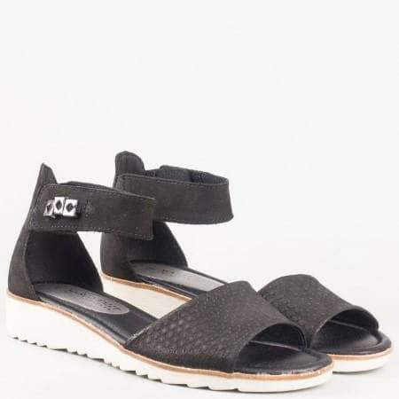 Дамски черни сандали с коланче с лепка от естествен велур от немският производител- Marco Tozzi 228604ch