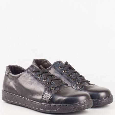 Дамски спортно-елегантни обувки изработени изцяло от естестествена кожа на водещ български производител в черен цвят 2286891ch