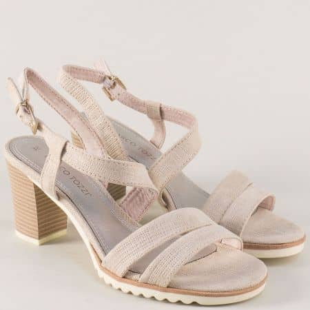 Дамски сандали на висок ток в бежов цвят- Marco Tozzi  228705bj