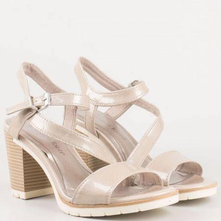 Немски дамски сандали в бежов цвят на висок ток- Marco Tozzi с мемори стелка 228713lbj