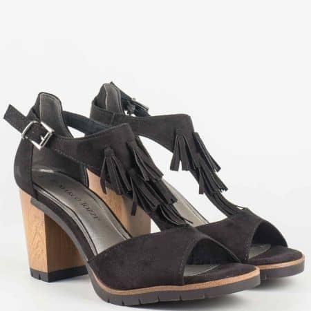 Модерни дамски сандали на висок ток- Marco Tozzi с ресни в черен цвят 228760vch