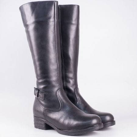 Дамски качествени ботуши изработени от висококачествена естествена кожа на български производител в черен цвят 2288768ch