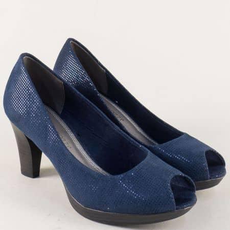Сини дамски обувки с отворени пръсти и висок ток 22930228s