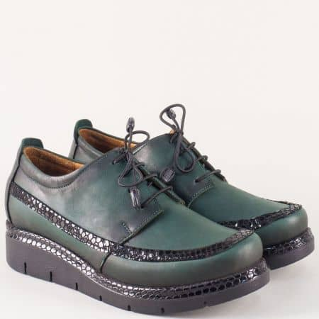 Ежедневни дамски обувки в зелен цвят на модерна платформа 229krz