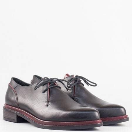 Дамски черни ежедневни обувки от 100% естествена кожа с връзки на утвърден български производител 2307ch