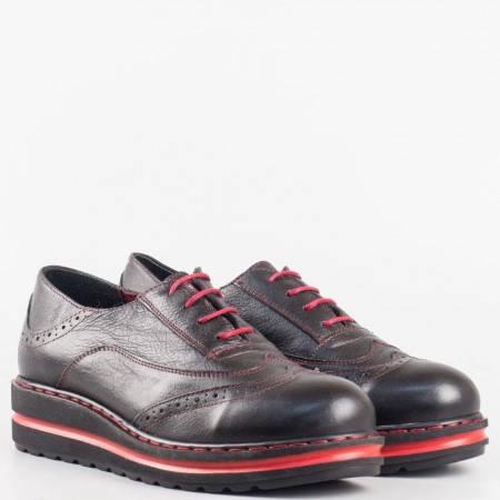 Дамски комфортни обувки изработени от 100% естествена кожа с анатомична стелка в черен цвят 23330chchv