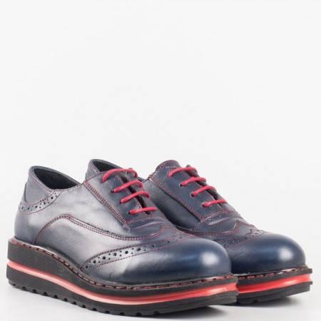 Дамски анатомични обувки изработени от висококачествена естествена кожа с кожена стелка в син цвят 23330schv