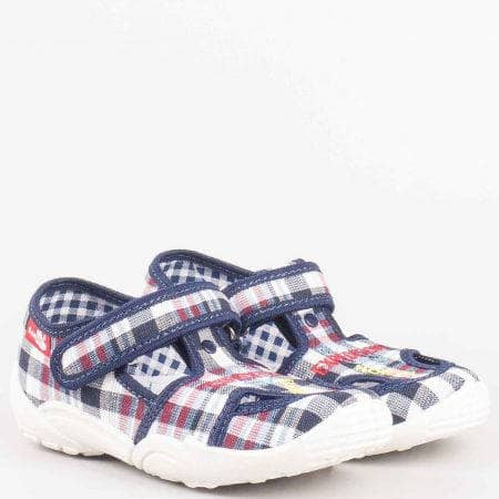 Пъстри детски обувки с кожена мемори стелка на български производител от антибактериални, дишащи материали  23375s